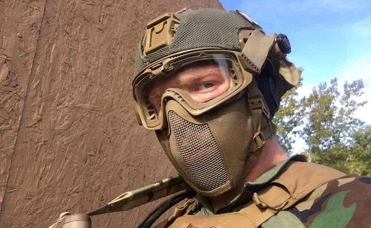 Man Wearing Airsoft Mask
